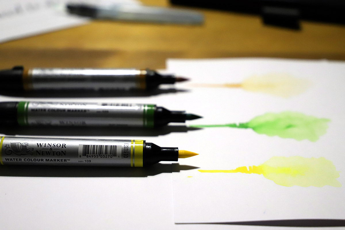 Watercolour brush pens Winsor & Newton: review and test